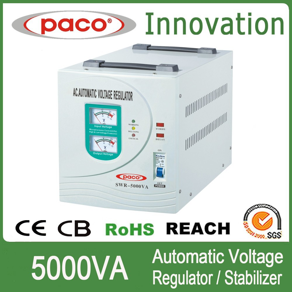 Pivot raizin voltage stabilizer 5000VA with input and output meter display,CE CB ROHS certificate