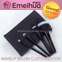 black 4pcs wholesale facial custom cosmetic makeup brush set