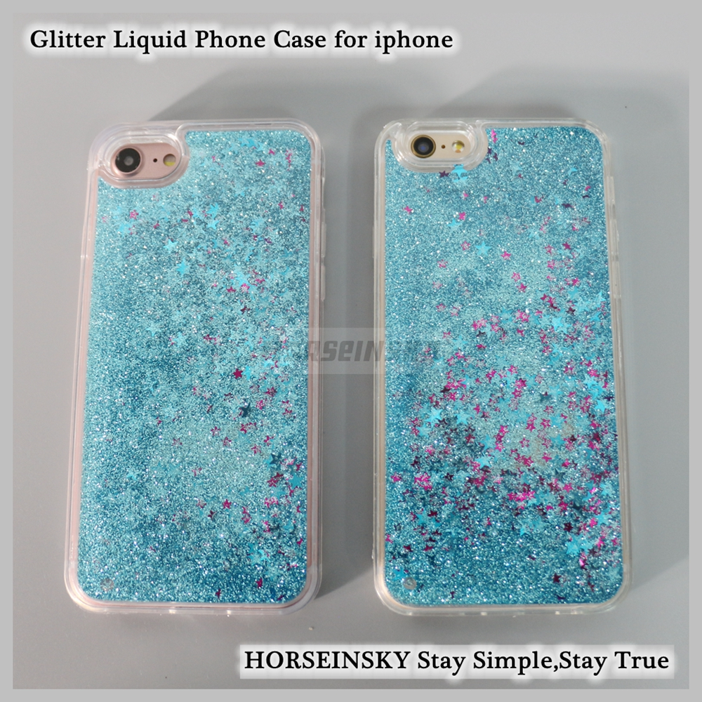Clear Glitter Liquid PC and TPU Case for iPhone 6 Bling Mobile Phone Covers