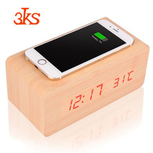 Christmas Gifts Wireless Phone Charging Pretty Wooden Alarm Digital Clock with Wireless Charger