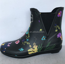 fashion cheap garden ankle rain shoes ladies short rubber boot for women