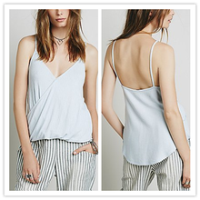 2015 Top Sellers Spaghettie Strap V-Neck Backless Sexy Blank Tank Top for Women NT6419