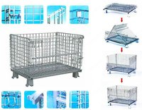 stocking and folding warehouse wire storage container