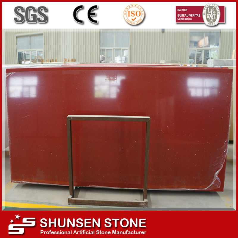Big Slab Form Floor Paving Red Quartz Stone Slab QZ815