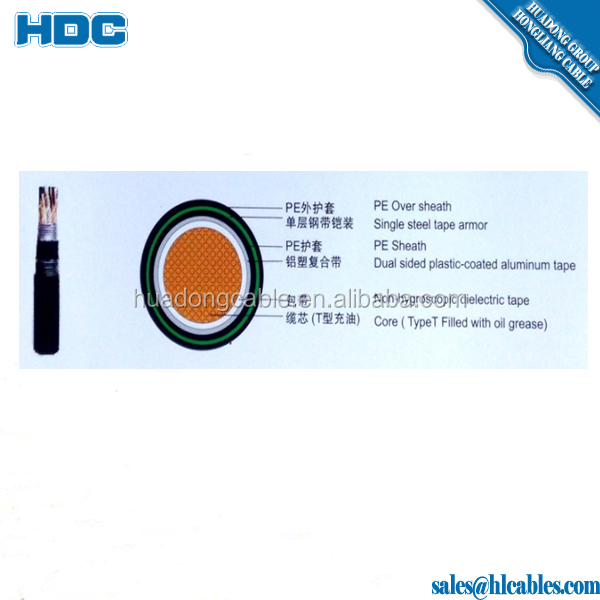 HYA53/HYAT53 50 Pairs Telephone Cable Underground Jelly Filled Armored Cable direct burial / rodent proof.