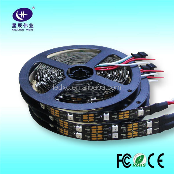 DC5V Black PCB Digital Programmable Addressable 144 led strip ws2812 strip light