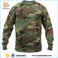 2016 Guangzhou shandao spring casual digital printing cotton round neck men woodland wholesale camo long sleeve t shirts