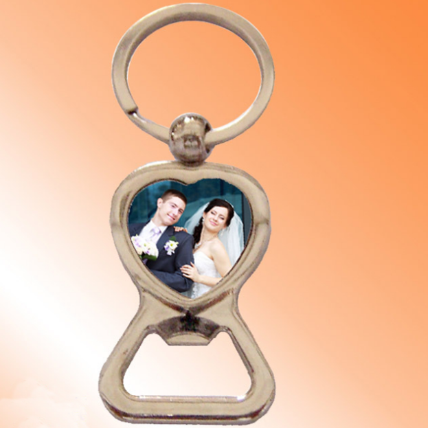 promotional custom heat transfer for sublimation blanks metal beer bottle opener photo keychain