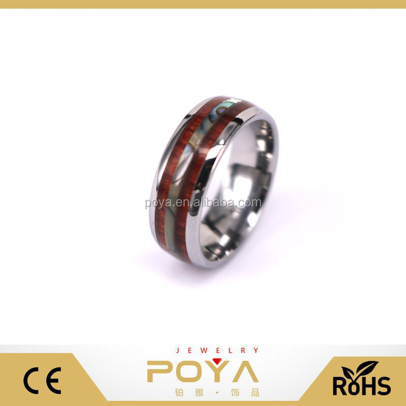 POYA Jewelry Men Women 8mm Tungsten Silver Vintage Wedding Engagement White Band with Shell Koa Wood Inlay Domed Ring
