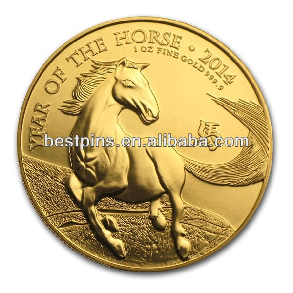 2014 United Kingdom 1 oz Gold Lunar Year of the Horse Coin DongGuan(BT-AM-Challenge Coin-14122-133)
