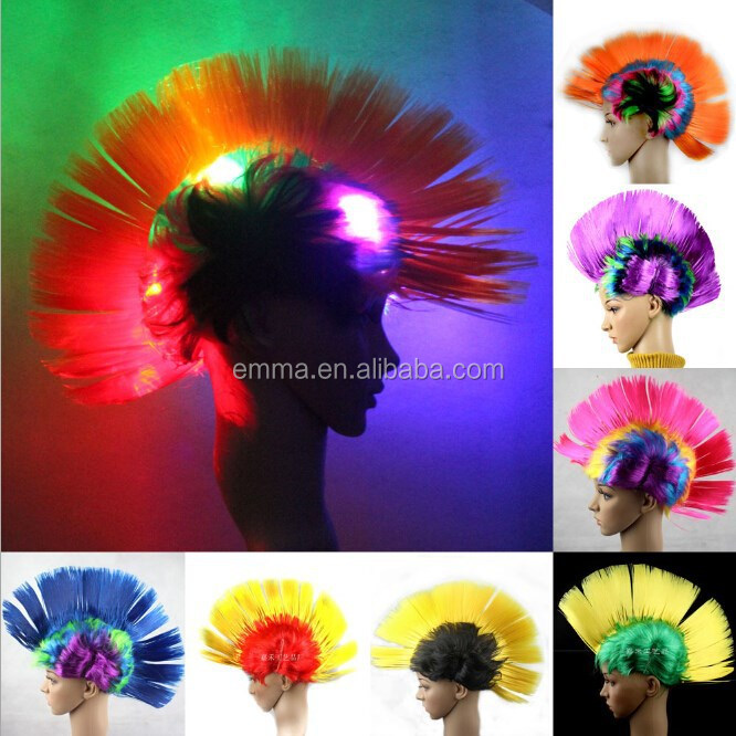 2016 LED rainbow mohawk wig for Fancy Party Dress Costume Halloween Synthetic Hair