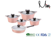 10pcs pink ceramic cookware set non stick flower pots wholesale
