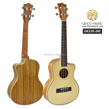 Tenor musical instrument cutaway spruce wooden electric ukulele from Guangzhou guitar factory UK22026C