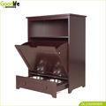 Pet food storage cabinet with feeding plate storage