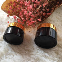 30ml 50ml amber color glass jar glass cream jar with black lid for cosmetic