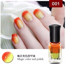 2017 1Pcs 6ml Available Thermal Nail Polish Peel Off Polish with Paillette Temperature Color Changing Nail Polish 19Colors