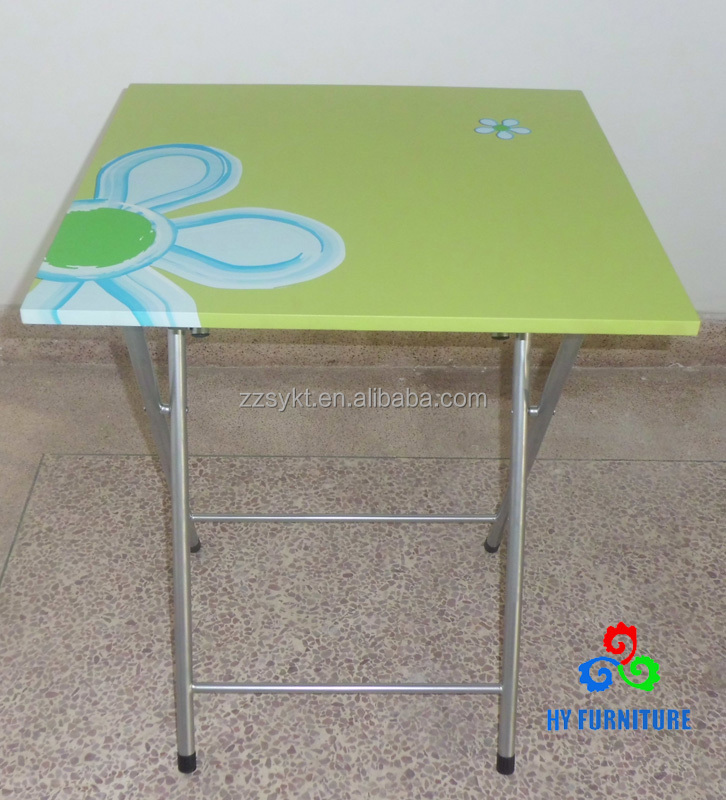 Simple design pvc printing folding metal dining table with wooden top wholesale