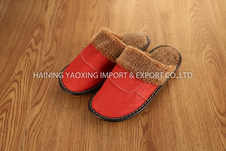 New arrival cow hide indoor slippers woman no minimum manufacturer
