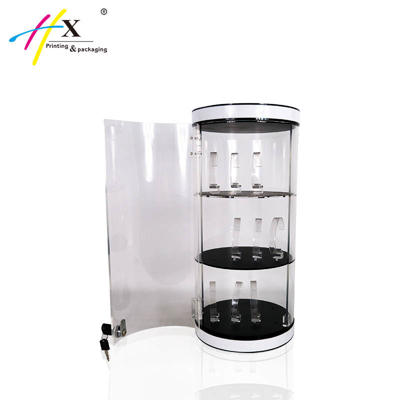 Acrylic Rotating Jewelry Watch Display Case With Key Lock