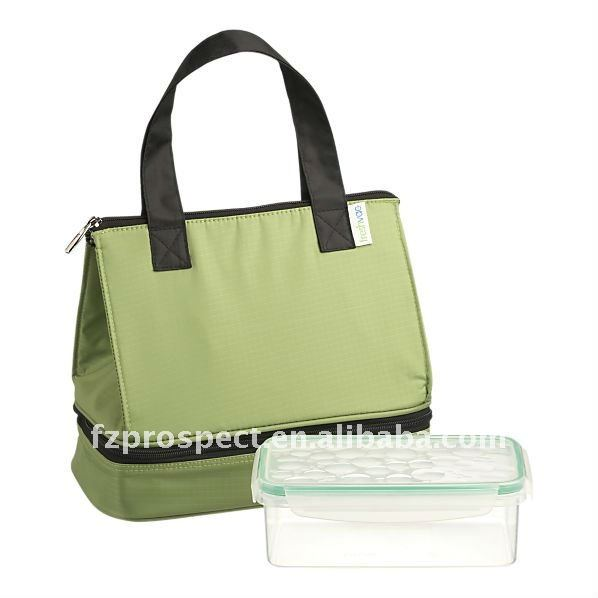green lunch tote bag