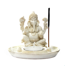 Lord Ganesha Incense Burner Votive T-light Candle Holder Meditation Figurine