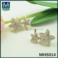 MHS014 Fashion wholesale rhinestone double star shoe ornament for ladies shoe
