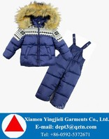 Hot Sale Fur Hooded Children Snowsuits For Brand OEM