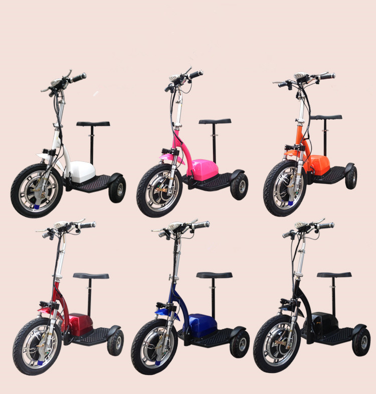 ATV fast speed folding 500w 20ah 3 wheel zappy 16inch hot sale adult electric tricycle top quality folding electric bike