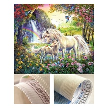 New silk lint canvas unicorn family diamond painting 5d diamond painting crystal art embroidery stitches
