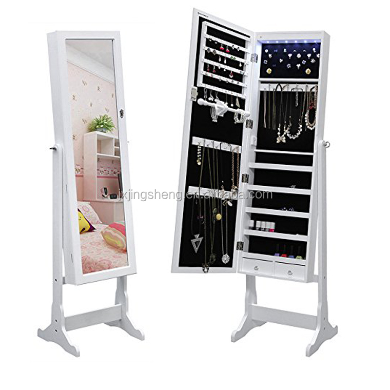 floor standing rotating mirror jewelry cabinet living room cabinets,white jewellery cabinet