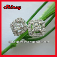 shinny 3 carat cz paved square diamond earring
