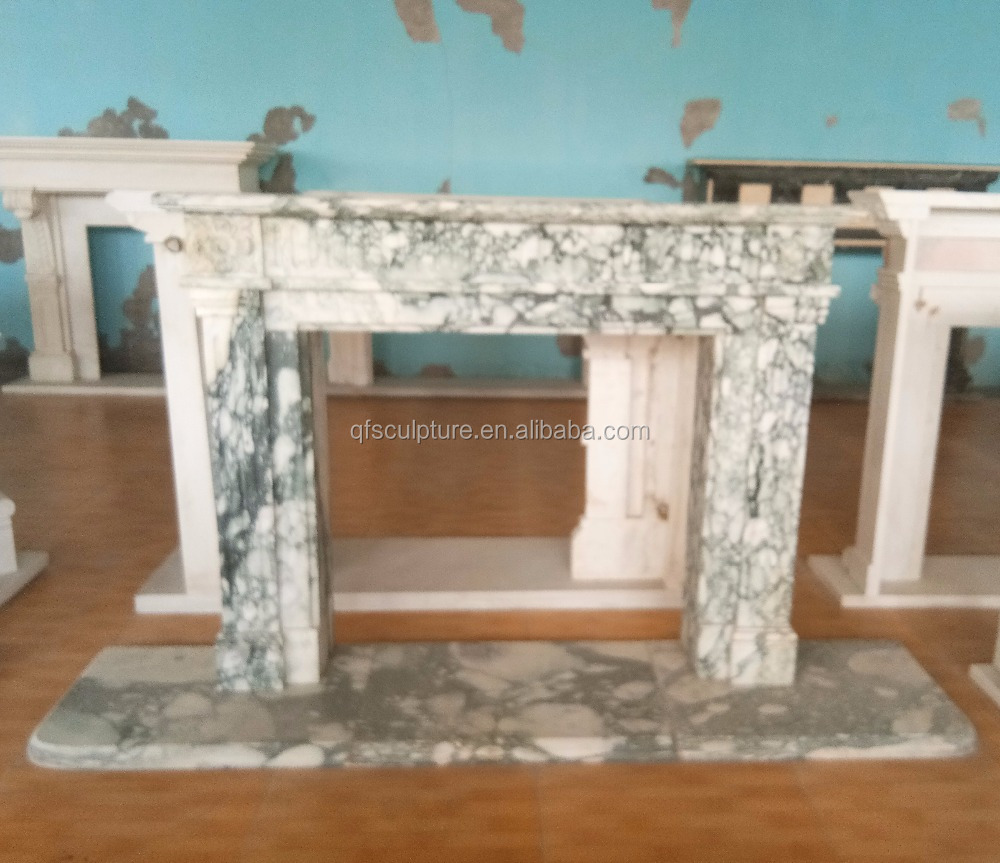 Simple gray marble stone fireplace mantel stock