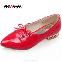2016 ladies beautiful flat shoes fashion red korean pointed toe pictures of women flat shoes PU casual shoes for girls