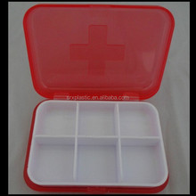 Pill box pink plastic 6 compartments white removable tray 2.5 inches pill box,custom plastic pill box container manfuacturer