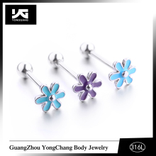 Cute Oil Drop Flower Tongue Barbells,1.2mm Barbell Bar with 5mm Ball End Tongue Rings Wholesale