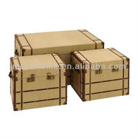 2013 Hot Sell New Cheap Vintage Old Wood Linen Trunk Large Burlap Rattan Storage Trunk