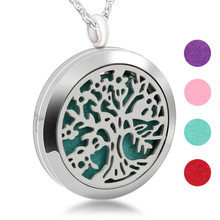 New design Hollow out Gem tree stainless steel Jewelry Aromatherapy Perfume Pendant Essential Oil Diffuser pendant <strong>necklace</strong>