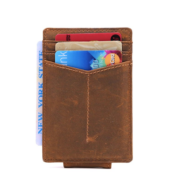 New Strong Magnet thin Wallet Front Pocket Wallet Leather wallets leather
