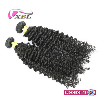 Natural color large stock human hair extension natural curly kinky