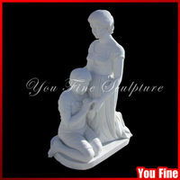 High Polished Natural Marble Child Sculpture Mother Statues