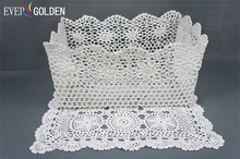 hand knited lace storage bathroom basket crochet