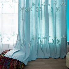 pink blue four leaf pattern blackout window curtain for kids