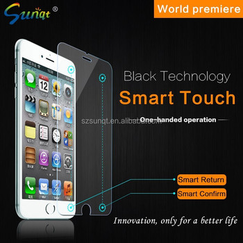 "Sunqt 2015 new products smart touch tempered glass screen protector used Iphone6 4.7""/5.5"""