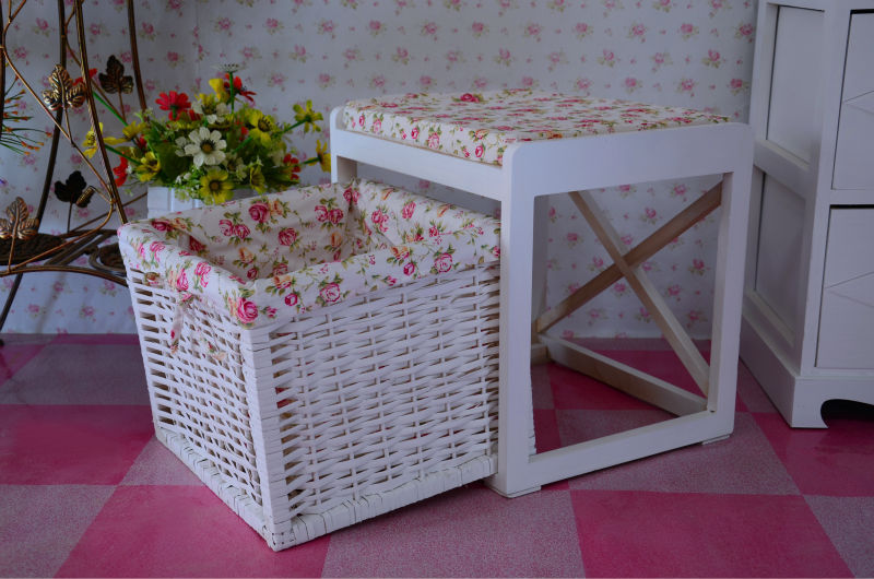 storage side wooden cabinet with hand woven plastic basket