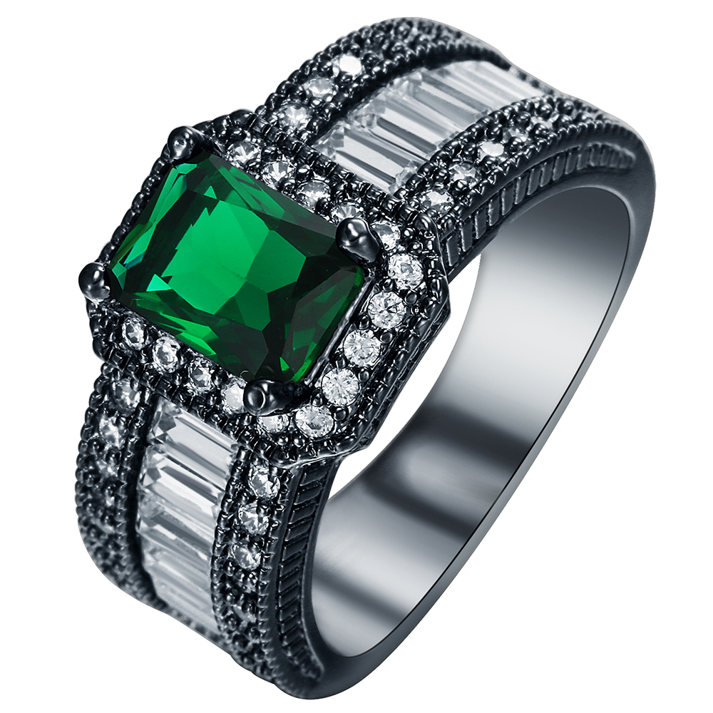 luxury jewelry green square crystal white zircon black gold <strong>ring</strong> for wedding