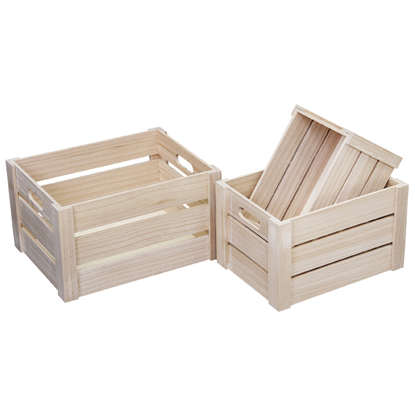 Handmade wood crafts FCS set of 3 pieces unfinished paulownia wooden hamper crates