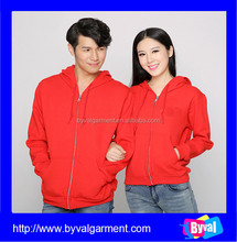 Bulk sale unisex cheap plain cotton fleece zipper-up hoodies couple lover hoodies/sweatshirt