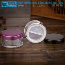HJ-PT 10g 20g round empty SAN plastic clear cosmetic loose powder jar with sifter