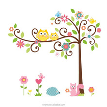Removable Swing Owl & Birds Colorful Scroll Tree Wall Art Decal Stickers for Nursery Room Home Decor