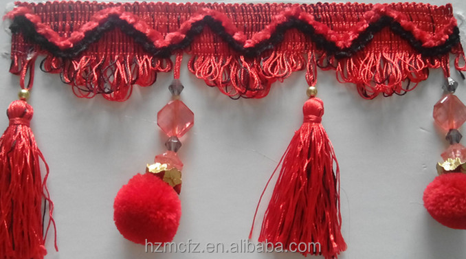 China Pompom Curtain decorative fringe of home textile
